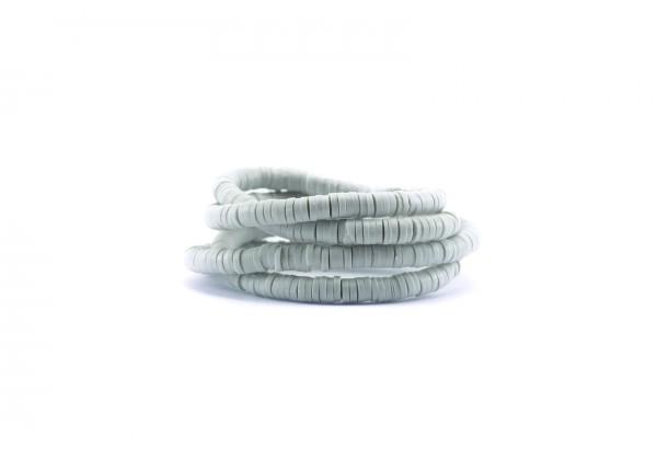 1 Fil de ± 40 cm de perles Heishi en pâte polymère 4 mm - Fil de ± 400 perles - Couleur Gris Perle