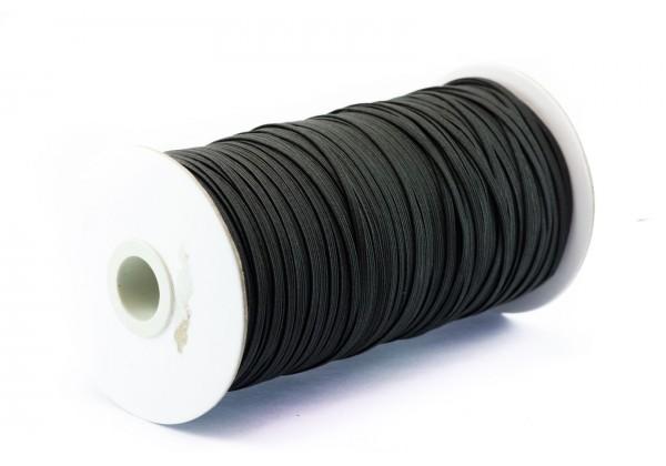 1 Bobine complète de ± 180 Mètres de Cordon Elastique Plat - Largeur : 3 Mm - Elastique pour Masques Noir