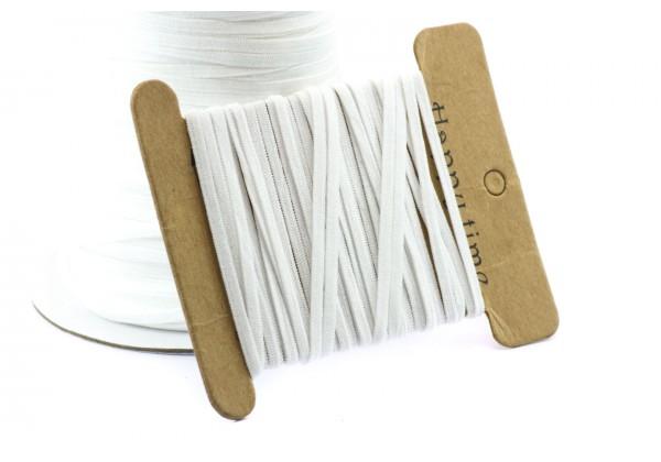 10 Mètres de Cordon Elastique Plat - Largeur : 3 mm - Couleur Blanc