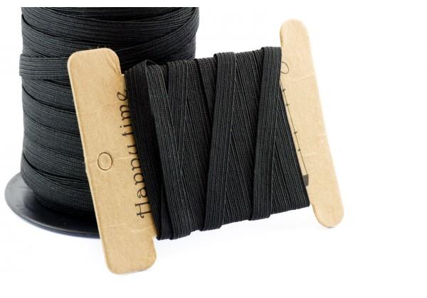 10 Mètres de Cordon Elastique Plat - Largeur : 8 mm - Couleur Noir
