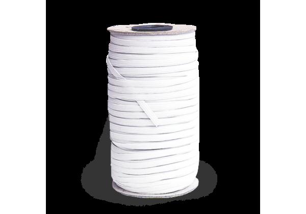 1 Bobine complète de ± 140 Mètres de Cordon Elastique Plat - Largeur : 5 Mm - Elastique pour Masques Blanc
