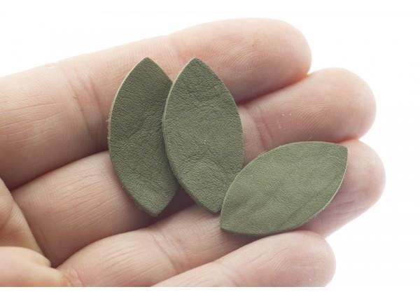 Feuille, Pétale de cuir Vert Kaki - Dim. 25 x 13 mm - Lot de 6