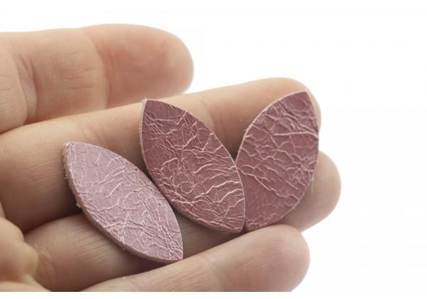 Feuille, Pétale de cuir Rose Dragée nacré - Dim. 25 x 13 mm - Lot de 6