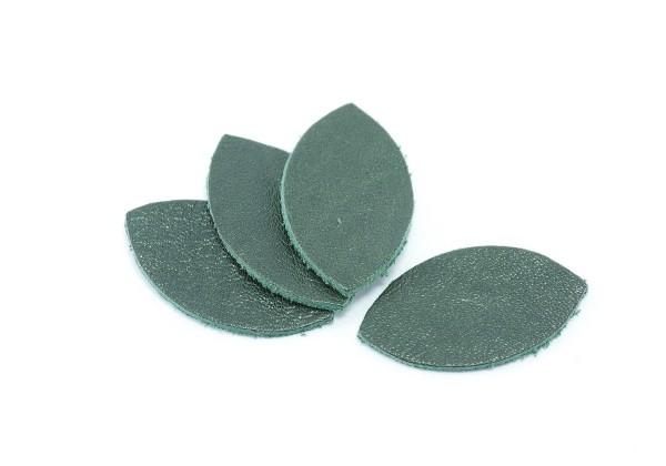 Feuille, Pétale de cuir Vert Sombre - Dim. 25 x 13 mm - Lot de 6