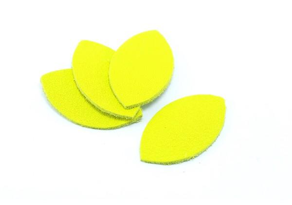 Feuille, Pétale de cuir Jaune Citron - Dim. 25 x 13 mm - Lot de 6
