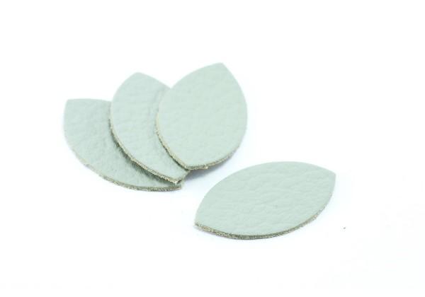 Feuille, Pétale de cuir Gris Perle - Dim. 25 x 13 mm - Lot de 6