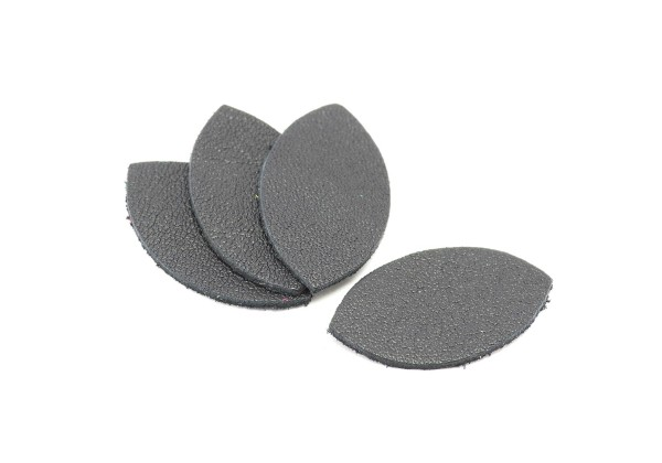 Feuille, Pétale de cuir Gris Anthracite - Dim. 25 x 13 mm - Lot de 6