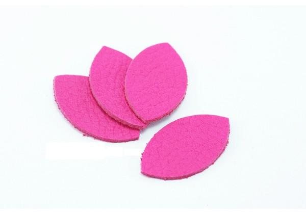 Feuille, Pétale de cuir Rose Fuchsia - Dim. 25 x 13 mm - Lot de 6