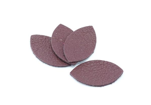 Feuille, Pétale de cuir Bordeaux - Dim. 25 x 13 mm - Lot de 6