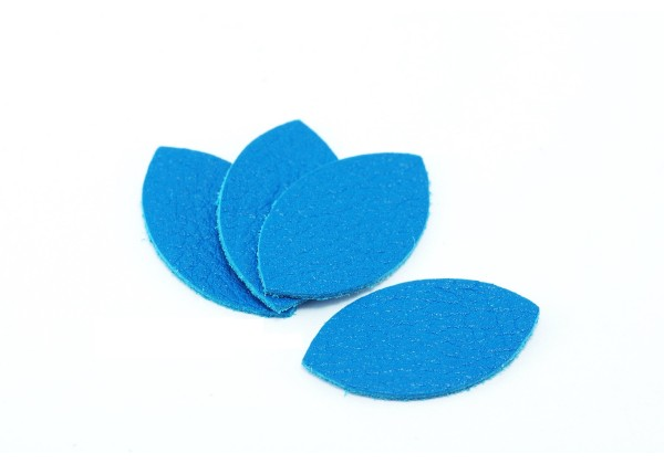 Feuille, Pétale de cuir Bleu Cyan - Dim. 25 x 13 mm - Lot de 6