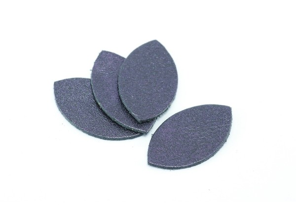 Feuille, Pétale de cuir Aubergine Nacré - Dim. 25 x 13 mm - Lot de 6