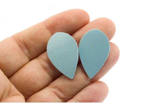 Gouttes de cuir Bleu Pâle - Dim. 30 x 20 mm - Lot de 6