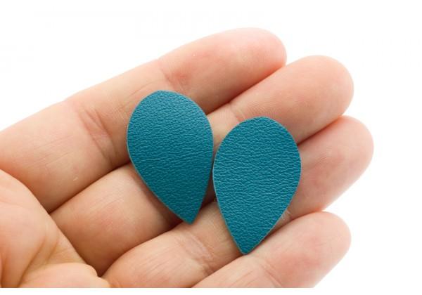 Gouttes de cuir Bleu Turquoise - Dim. 30 x 20 mm - Lot de 6