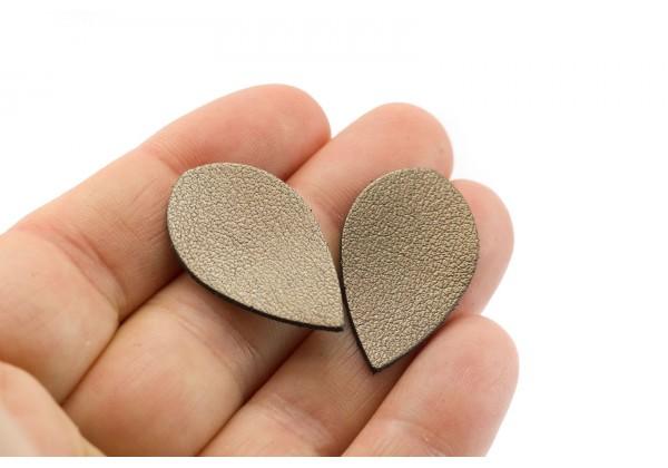 Gouttes de cuir Bronze - Dim. 30 x 20 mm - Lot de 6 (Mod.1)