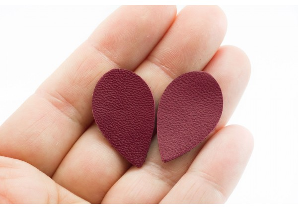 Gouttes de cuir Rouge Bordeaux - Dim. 30 x 20 mm - Lot de 6