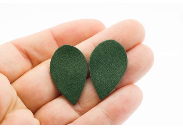 Gouttes de cuir Vert Anglais - Dim. 30 x 20 mm - Lot de 6