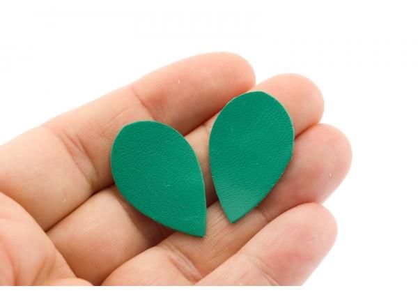 Gouttes de cuir Vert Emeraude - Dim. 30 x 20 mm - Lot de 6