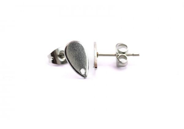 2 Supports Boucles d'oreilles Forme Goutte Type Puce en Acier Inoxydable - Dim. : 10 x 6 mm - Couleur Argent