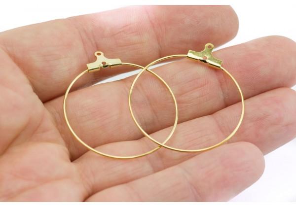 10 Supports Boucles d'oreilles en Acier Inoxydable - Anneaux Créoles à suspendre - Diam. : 30 mm - Couleur Doré