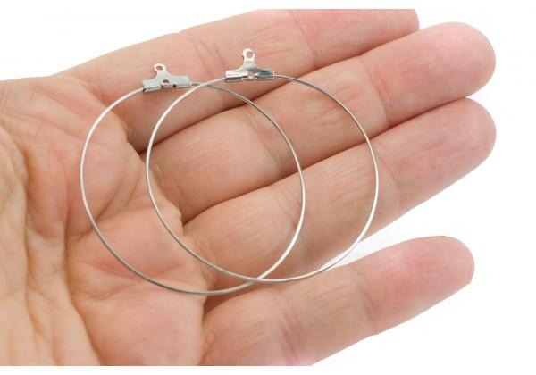 10 Supports Boucles d'oreilles en Acier Inoxydable - Anneaux Créoles à suspendre - Diam. : 45 mm - Couleur Argent