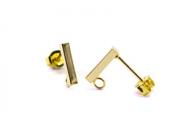 4 Supports Boucles d'oreilles Type Puce d'oreille avec anneau en Acier Inoxydable - Dim. : 10 x 2 x 2 mm - Couleur Doré