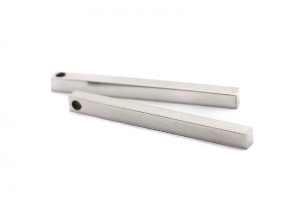 2 Breloques Tiges Droites en Acier Inoxydable - Dim. : 35 x 3 x 3 mm - Couleur Argent
