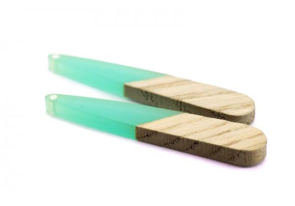 2 Breloques Bois et Résine - Dim. : 44 x 7 mm / Ep. : 3 mm - Bi-colore : Bois et Résine Aqua Turquoise