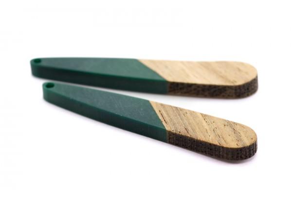 2 Breloques Bois et Résine - Dim. : 44 x 7 mm / Ep. : 3 mm - Bi-colore : Bois et Résine Vert Canard