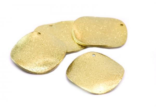 6 Pendentifs Sequins courbés en Laiton Brut Effet Granité - Diam. 25 mm - Couleur Or / Doré