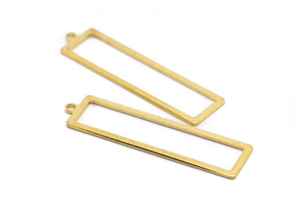 6 Breloques Tiges Rectangles en Laiton Brut - Dim. : 38 x 10 mm - Couleur Or