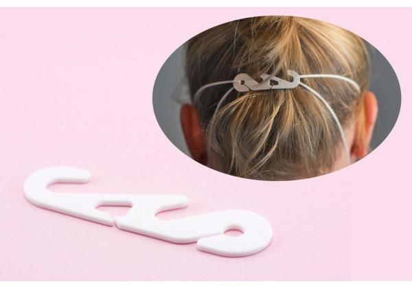 Barrette de Réglage à fixer sur les élastiques des masques de protection - Dim. : 5,7 x 1,5 cm - Couleur Blanc