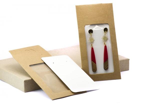 2 Pochettes cadeau - Kit d'emballage pour bijoux - Dim. : 15 x 7 cm - Couleur Kraft