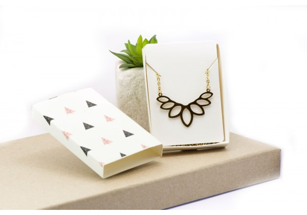 2 Boites cadeau coulissantes - Kit d'emballage pour bijoux - Dim. : 7,2 x 5,3 x 1,1 cm - Couleur Blanc illustré
