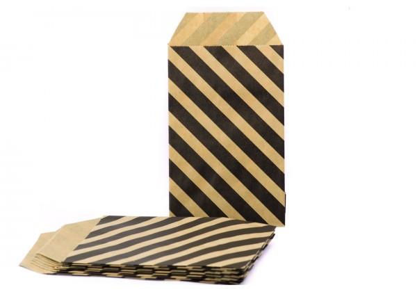 10 Pochettes cadeau Papier Kraft - Sachets 60Gr - 7x12 cm - Pochette Kraft Brun avec Rayures