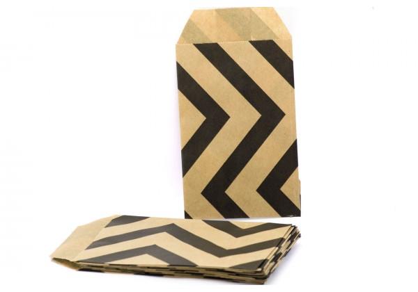 10 Pochettes cadeau Papier Kraft - Sachets 60Gr - 7x12 cm - Pochette Kraft Brun avec Chevrons
