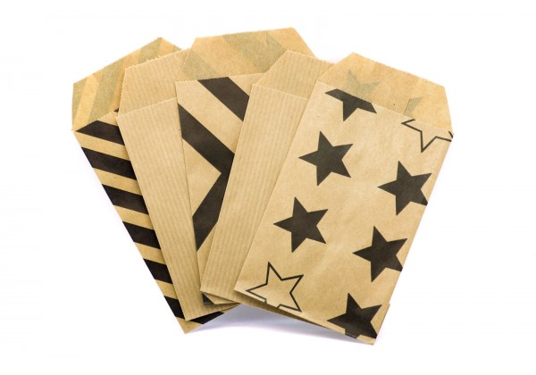 50 Pochettes cadeau Papier Kraft - Sachets 60Gr - 7x12 cm - Pochette Kraft Brun avec Chevrons