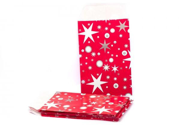 30 Pochettes cadeau Tons Rouge à Motifs Etoiles - 7x12 cm -  Esprit Noël et Fêtes