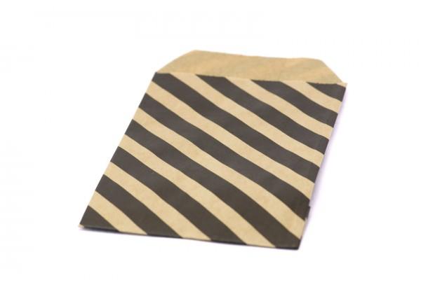 10 Pochettes cadeau Papier Kraft motifs Rayures à Soufflet - Sachets 60Gr - 20 x 12 cm - Pochette Kraft Brun