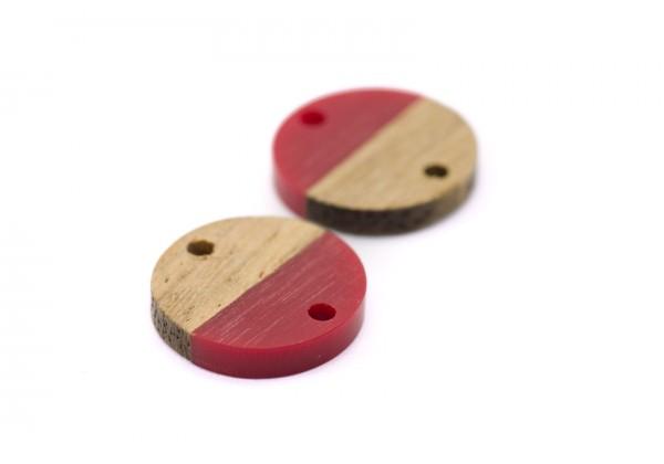 2 Connecteurs Bois et Résine de forme Ronde - Diam. : 15 mm / Ep. : 3 mm - Bi-colore : Bois et Rouge