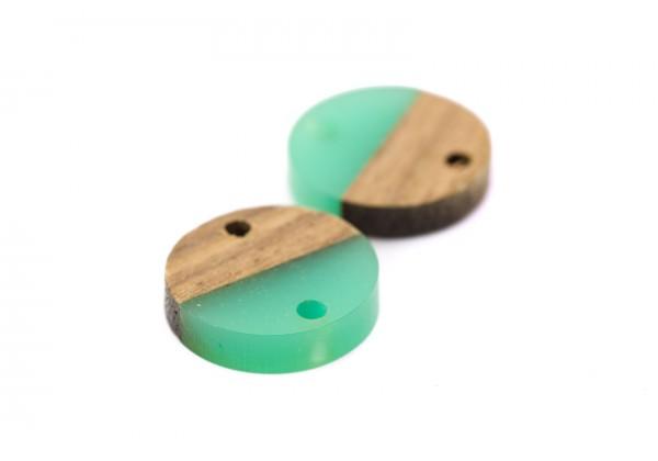 2 Connecteurs Bois et Résine de forme Ronde - Diam. : 15 mm / Ep. : 3 mm - Bi-colore : Bois et Aqua Turquoise