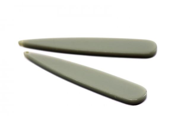 2 Breloques en Résine - Dim. : 53 x 10 mm / Ep. : 2,5 mm - Couleur Gris