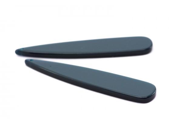 2 Breloques en Résine - Dim. : 53 x 10 mm / Ep. : 2,5 mm - Couleur Bleu Pétrole