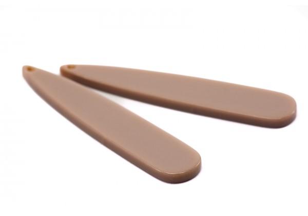 2 Breloques en Résine - Dim. : 53 x 10 mm / Ep. : 2,5 mm - Couleur Taupe