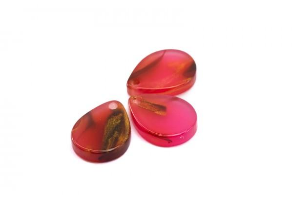 6 Breloques Gouttes en Acétate de Cellulose - Dim. : 12 x 9 mm - Couleur Rouge Rose