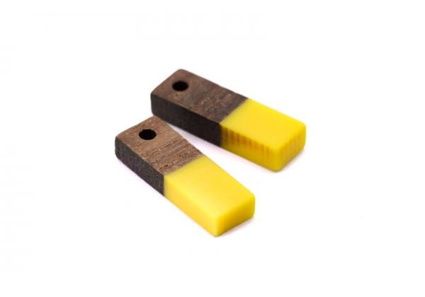 2 Breloques Bois et Résine - Dim. : 17 x 5 mm / Ep. : 3 mm - Bi-colore : Bois et Résine Jaune