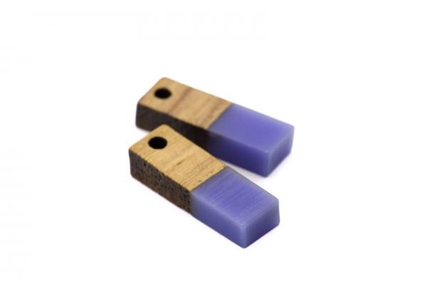 2 Breloques Bois et Résine - Dim. : 17 x 5 mm / Ep. : 3 mm - Bi-colore : Bois et Résine Violet