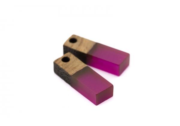 2 Breloques Bois et Résine - Dim. : 17 x 5 mm / Ep. : 3 mm - Bi-colore : Bois et Résine Violine