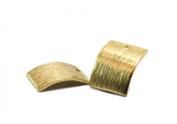 6 Breloques Forme Rectangle bombé en Laiton Brut - Dim. : 14 x 12 mm - Couleur Or