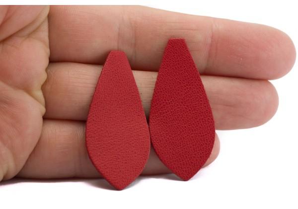 Larmes de cuir Rouge Carmin - Dim. 40 x 18 mm - Lot de 6