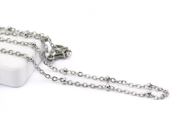 Collier Maille Forçat avec Boules en Acier Inoxydable - Long. : ± 45 cm - Maille 2 x 1,5 mm - Couleur Argent
